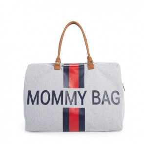 Torba Mommy Bag Big Canvas Grey Stripes red/blue